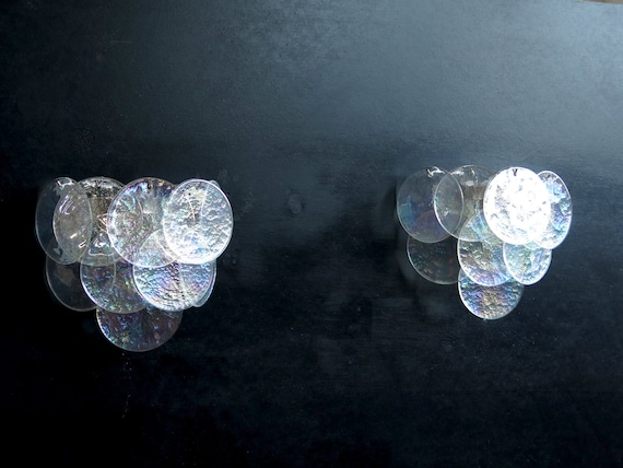 1970' s Pair of Vistosi sconces - iridescent Murano Glasses
