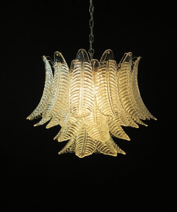 Italian Murano Six-Tier trasparent Felci Glass chandelier - 36 glasses