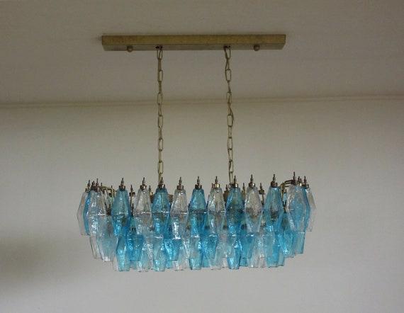 Elegant Murano Poliedri Chandelier - Carlo Scarpa - 84 glasses trasparent and blue