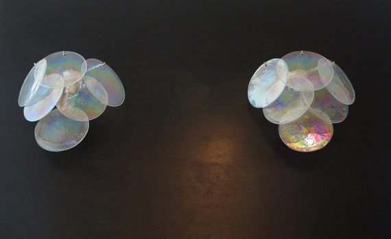1970' s Pair of Vistosi sconces - iridescent Murano Glasses