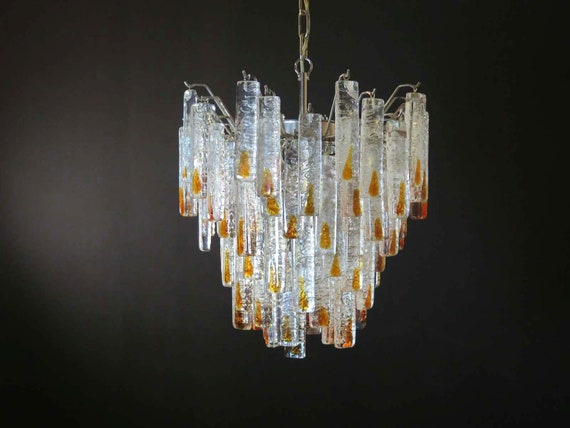 Vintage Murano chandelier in the manner of Mazzega – 84 prism icicle