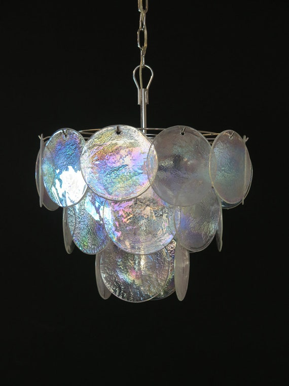 High quality Murano chandelier space age – 23 iridescent glasses
