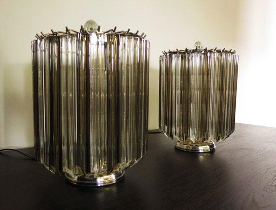Quadriedri Table Lamp - Venini Style - trasparent and smoked prism