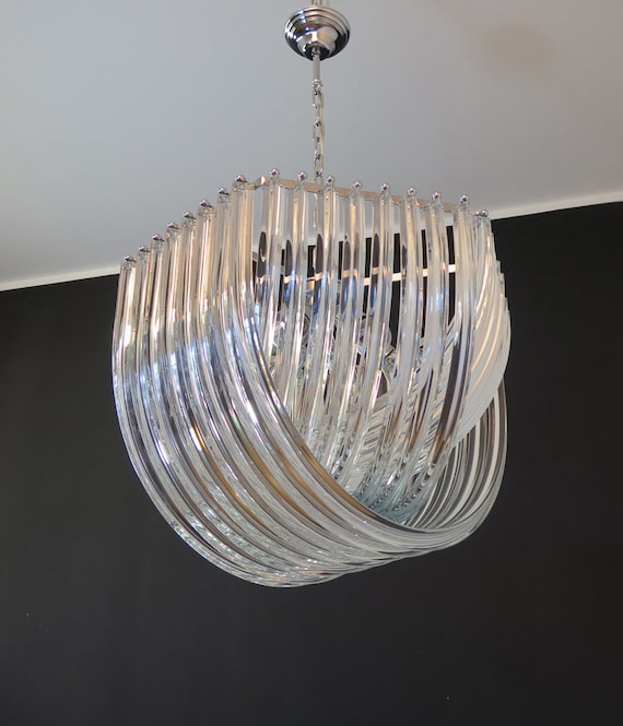 Large Curvati Chandelier, trasparent Triedri, 24 murano glasses