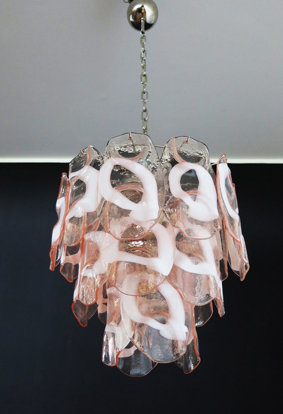 1970's Vintage Italian Murano chandelier lamp in Vistosi style 23 pink glasses