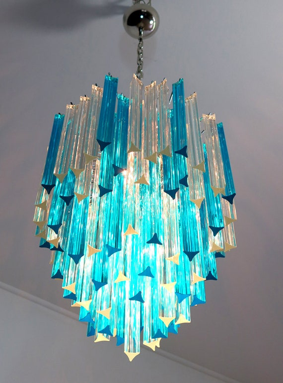 Murano chandelier triedri – 92 prism - trasparent and blue