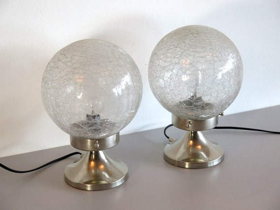 Pair of Italian vintage Mazzega Murano glass bedside lamps