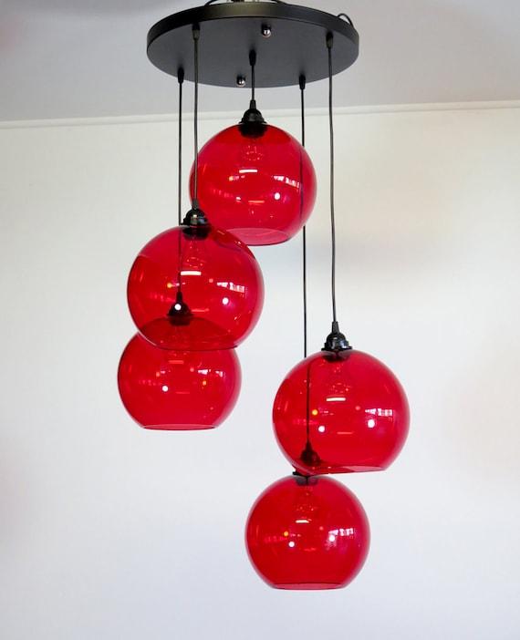 Vintage Light red glass ball Chandelier Sconce
