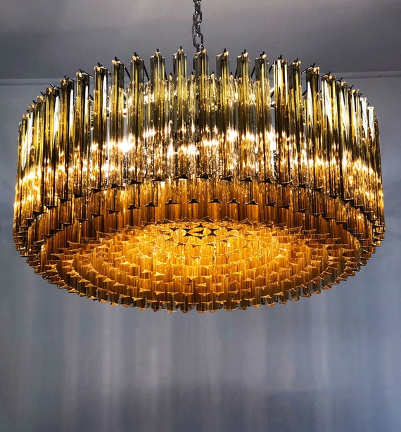 Large Triedri Murano glass Chandelier - 391 prims clear amber