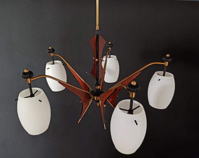 Mid-Century Italian Wooden glass Chandelier, 1960