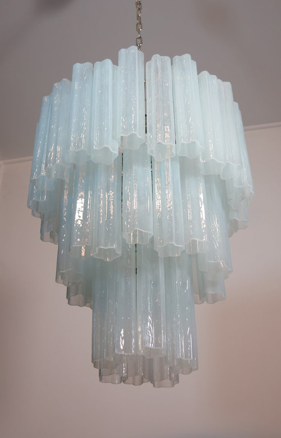 Large three-Tier Venini Murano 48 Glass Tube Chandelier - opal silk