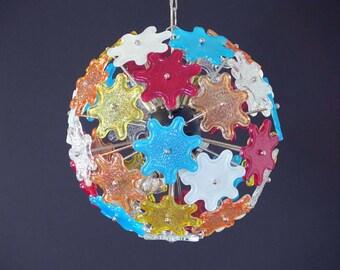 Sputink chandelier multicored + sputnik chandelier trasparent