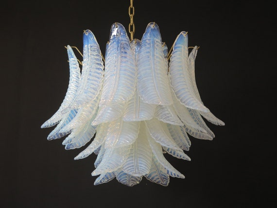 Italian Murano Six-Tier opaline Felci Glass chandelier - 36 Opal glasses