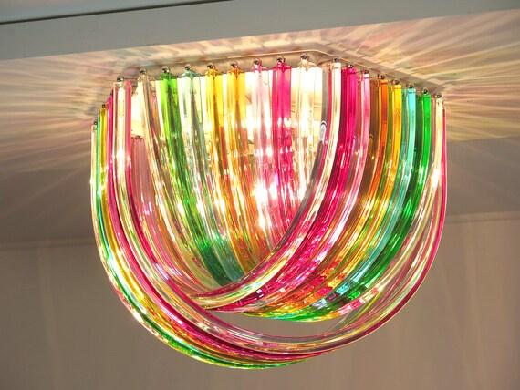 Large Curvati rainbow ceiling light, multicolored Triedri, 24 Murano glasses