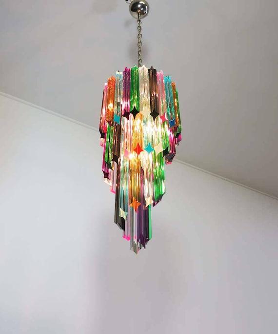 Murano chandelier multicolor - 54 quadriedri prism - Mariangela model