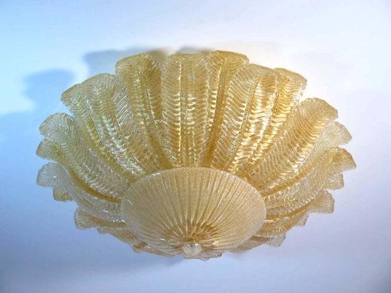 Rare Barovier Flower Ceiling Lamp - Murano Art Glas - golden powder
