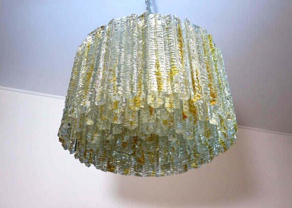 1960's Murano chandelier – 138 trasparent big prism triedri trasparent caramel