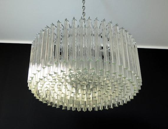 Large Triedri Murano glass Chandelier - 265 trasparent prism