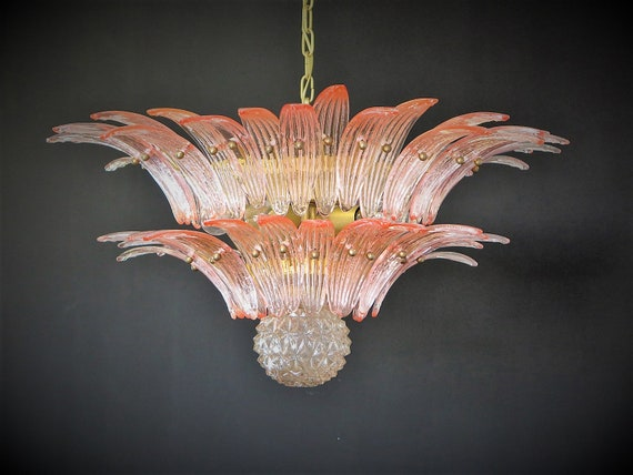 Murano Chandelier Original Palmette, pink glass