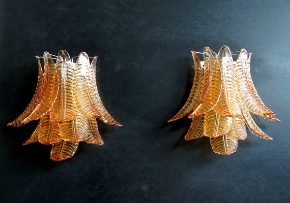 Pair of vintage Murano Six-Tier Felci wall sconce - amber glasses