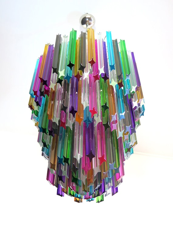 Huge Murano chandelier multicolor quadriedri – 184 prism - Mariangela model
