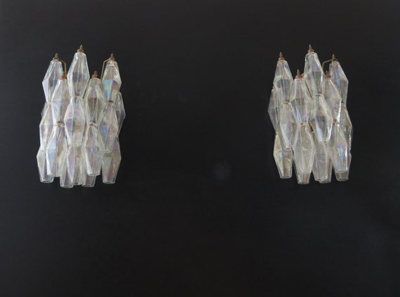 Vintage Murano Italian POLIEDRI iridescent glass wall sconces