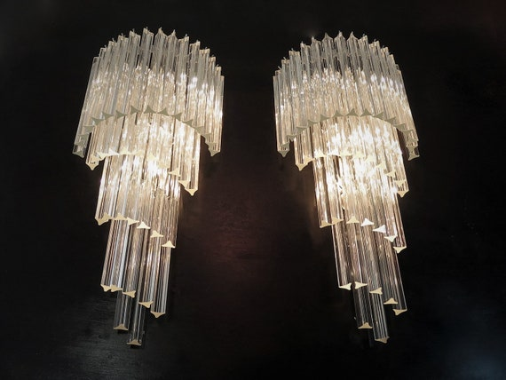 Monumental pair of vintage Murano wall sconce – 41 trasparent triedri -Arianna model