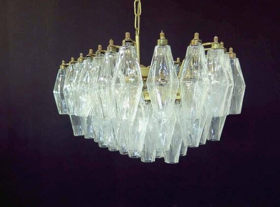 Elegant Murano Poliedri Chandelier - Carlo Scarpa - trasparent glasses