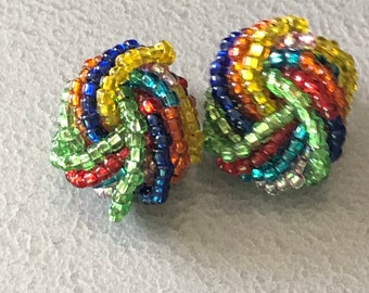 Vintage Retro 1940s 1950s 1960s Funky multi coloured rainbow glass seed beaded KNOT Cluster Clip On Earrings  Ditsy