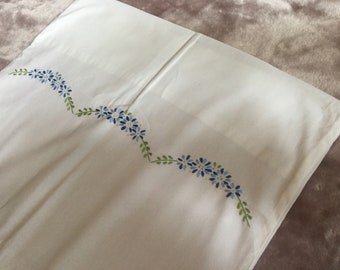 single spring flowers floral pillowcase Chateau country cottage chic bedding decor single off white  cream cotton ditsy printed pretty