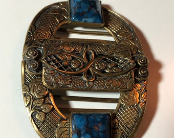 Gift for her Paris vintage fashion Haute Couture French vintage baroque link bronze belt