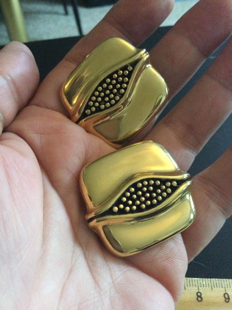 Signed SIDNEY CARRON Paris French designer vintage retro large gold tone modernist minimal square  iconic large oversized  clip on earrings