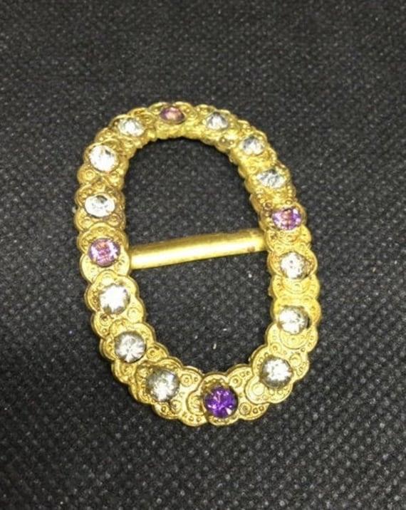 Antique vintage pave Set Yellow amber Glass Diamante Belt Buckle paste rhinestone Sash choker Adornment Fitting