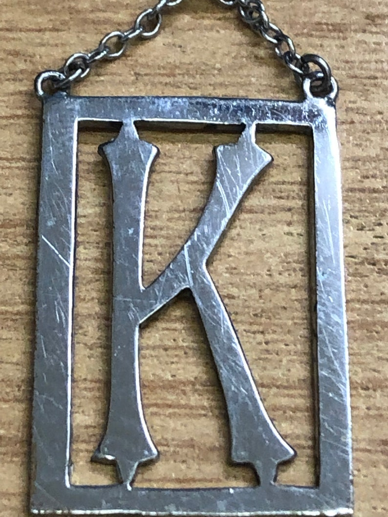 Art Deco Small Chrome 1920s 1930s Monogram letter personalised K brooch  Kate Katherine Kirsty Karen vintage