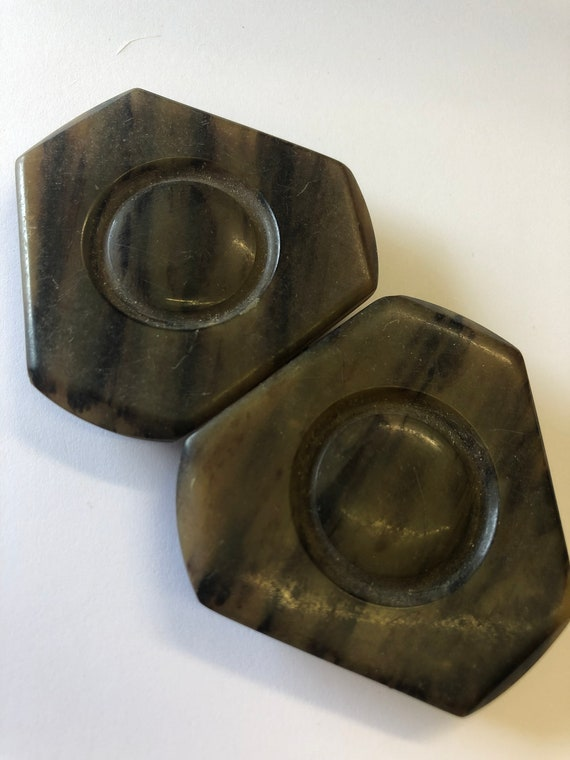 Antique Vintage Art Deco marbled BROWN  bakelite early plastic 2 part double Belt Buckle 1910s 1920s 1930s Sewing Haberdashery