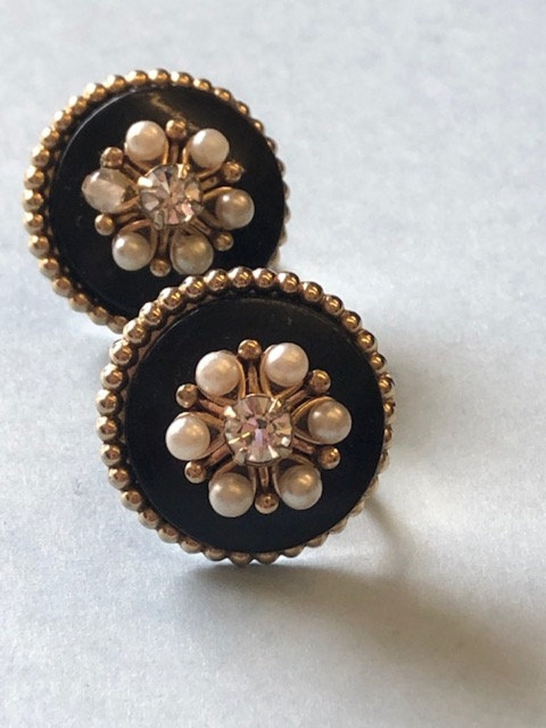 Antique Vintage Black base ornate  Gilt gold metal and seed pearl diamante dot work earrings Victorian Edwardian style screw back