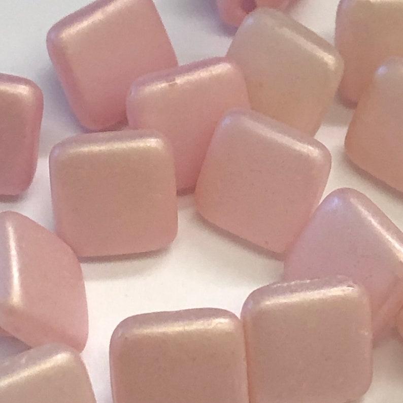job lot 17 pretty soft pastel pink glass square buttons Antique Vintage Sewing Bridal  Buttons 7mm 8mm  Art Deco 1920s 1930s 1940s
