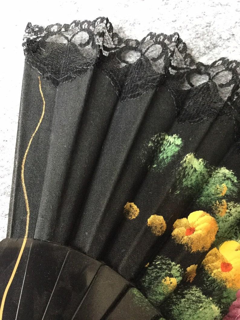 Vintage Retro Spanish Oriental Hand Painted Floral Fabric Ladies Hand Held  Fan plastic spibes   Orange purple flowers