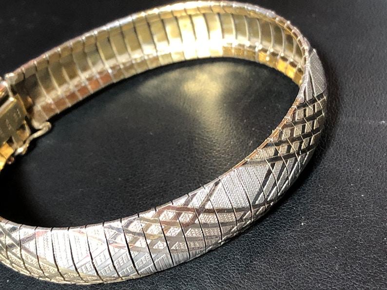 Retro 1970s 1980s Italian 925 sterling tricolour gold wide flat link brutalist modernist 15mm wide flat articulated cuff bracelet vintage