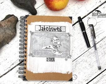 Diary Spiral Binding, Book Way of Jacob, Travel Journal, Pilgrim Journey, Notebook Retro Style, Handmade in Germany, German Design-book,