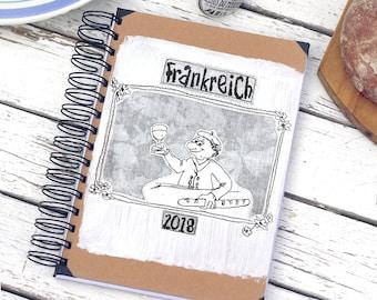 Notebook France, photo album kraft paper, retro style, retro photo album, retro-book, kraft paper, handmade print, travel diary,travel