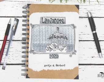 Sketchbook, Travel -Notebook, Notebook, Beach Holiday, Lanzarote, Reminder, Papercraft, Holiday Recollection, Miniphoto Album, Retro Revival