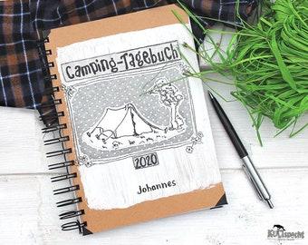 Camping diary, camping photos, tent camp, scout book, notebook kraft paper, camping book, Minialbum camping, craft-project, kraft- gift,