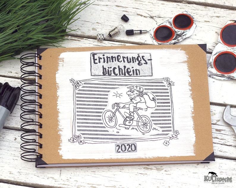 Book cycling Notebook gift Drawing cyclist Retro notebook image 1