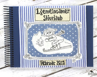 Album skiing, ski holidays photo-album, gift reminders winter-holidays, Stripes blue white, Handmade Germany, original giftidea, kultspecht