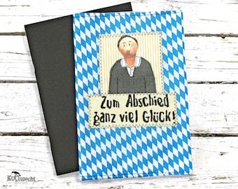 album Coworker, Bavaria Design, Diamond fabric Bavarian, blue-withe, farewell colleague, photobook personally, retirement anniversary