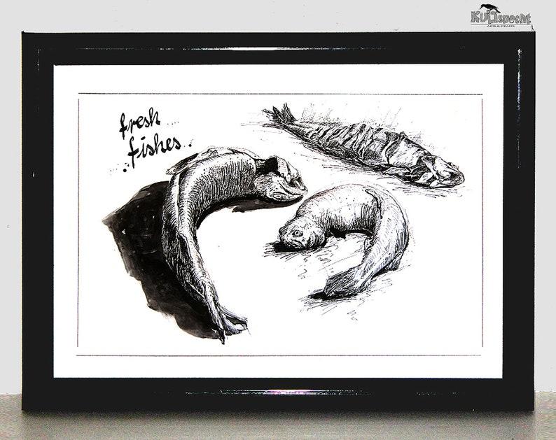 Fish Drawing Premium Poster High Quality Print Drawing image 0