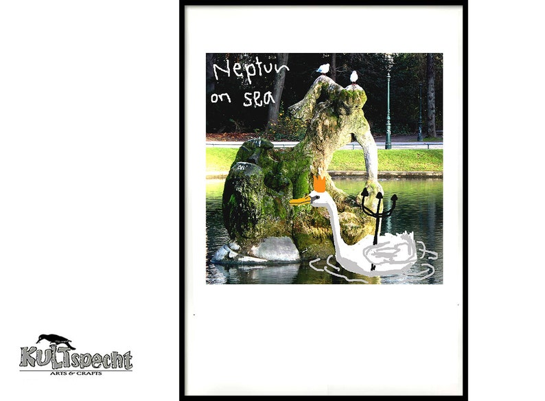 picturesque scene Neptune on sea German graffiti digital image 0