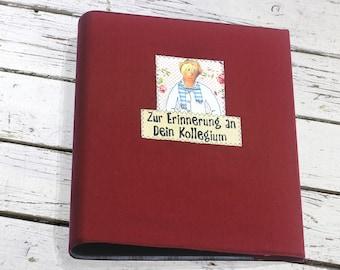 red ring binder, original present colleague, Farewell gift, goodbye, Souvenir, Photo album individually, Ring binder, kultspecht