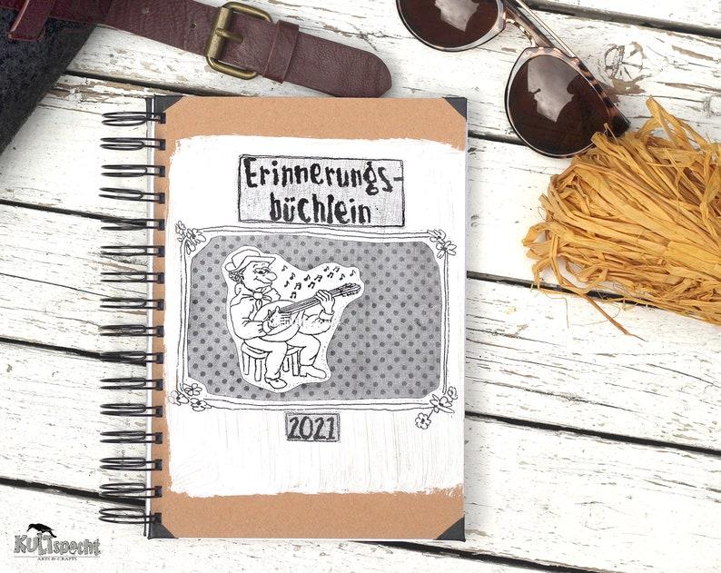 Mandolin Player Retro Notebook Travel Diary Personalized image 0